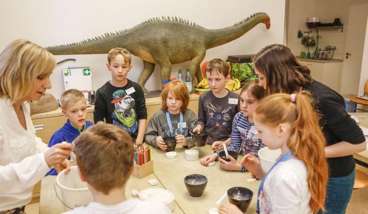 Kinder kreieren Fossilien aus Gips