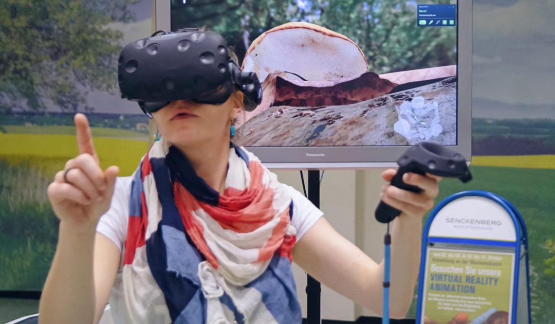 """Eine VR-Nutzerin erkundet im Görlitzer Naturkundemuseum virtuell den Lebensraum """"Laubstreu""""."""