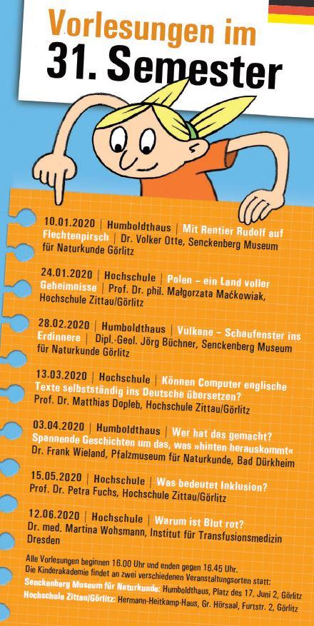 Kinderakademie Programm Vorderseite Görlitz 31. Semester